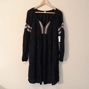 Old Navy NEW Black Boho Long Sleeve Dress XL